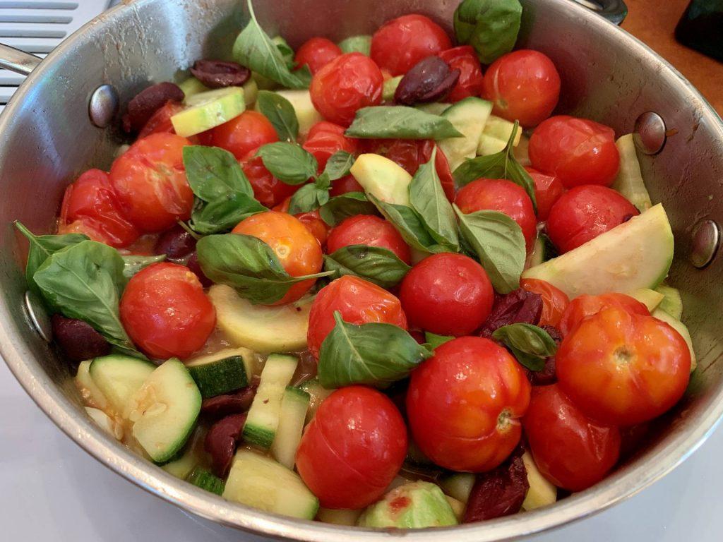 Sautéed tomatoes, zucchini, onion, with basil
