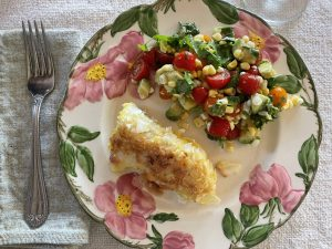 Coconut Battered Cod with C.A.T. Salad