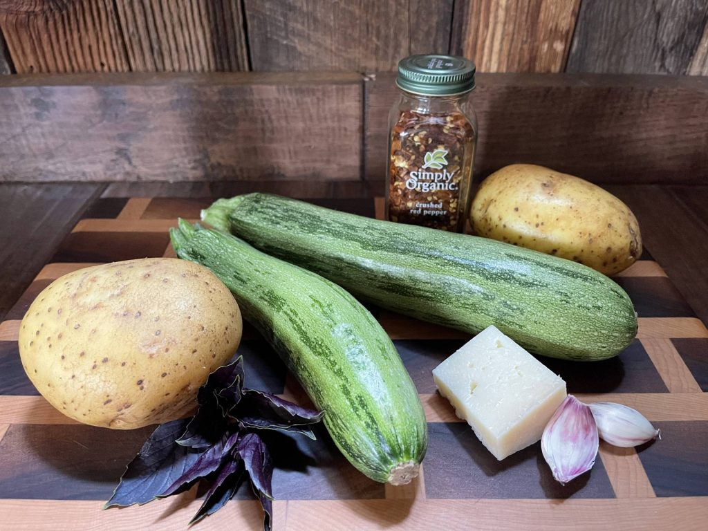 ingredients for Spiralized Zucchini Butter Spaghetti